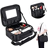 strap Makeup Organizer Cosmetic Bag with Removable Mirror, TOPOINT Make Up Travel Cases Waterproof Box with Brush Holder, Adjustable Dividers,Shoulder Strap, Black