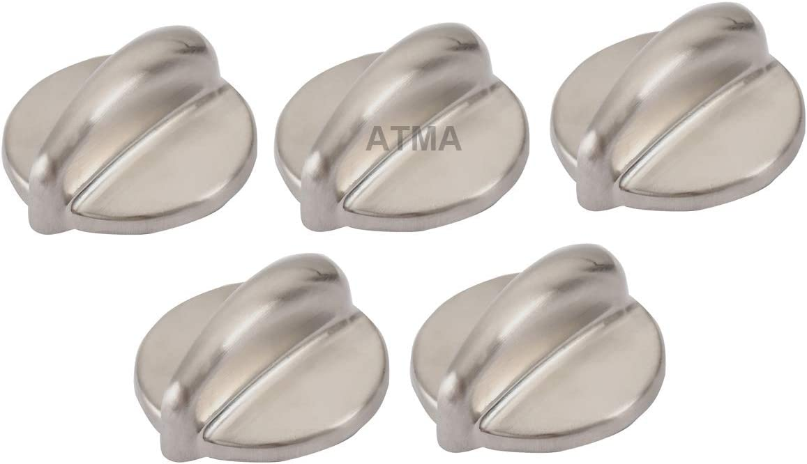 ATMA WB03K10303 Chrome Cooktop Control Knob Heavy Duty Metal Knobs Replacement Fits for GE Gas Range Replace WB03K10208 1810427 AH3486484 AP4980246 EAP3486484 PS3486484-Pack of 5