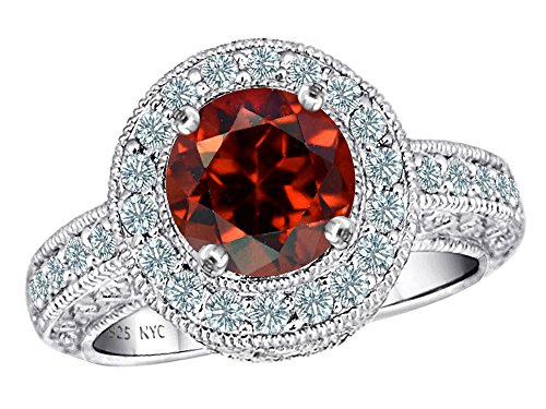 Star K 7mm Round Simulated Garnet Ring Size 7.5
