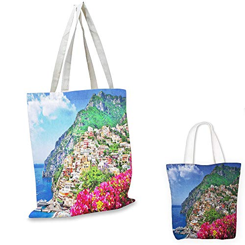 small clear shopping bag Italy Scenic View of Positano Amalfi Naples Blooming Flowers Coastal Village Image Pink Green Blue tote bag with zipper