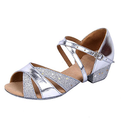 Girls Soft-soled Glittering Latin Ballroom Dance Shoes with Leather Strap(5, Silver)