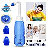 TONELIFE Sinus Rinse System with ON/OFF Lock Switch - Nose Cleaner - Neti Pot 10oz 300ml Nasal Rinse Bottle for Adult Child