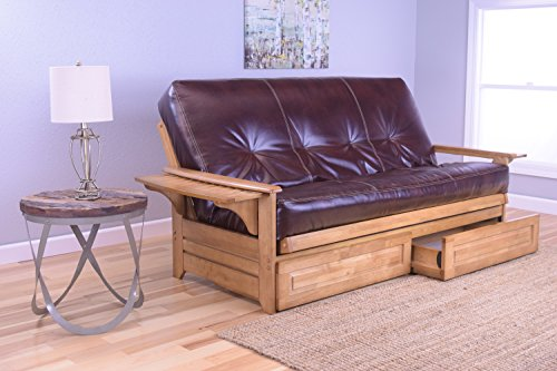 Phoenix Full Size Futon and Drawer Set, Butternut Wood with Bonded Leather Innerspring Mattress, Java (Phoenix Upholstered Bed)