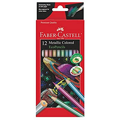 Faber-Castell Metallic Colored Ecopencils - 12 Break Resistant Coloring Pencils: Toys & Games