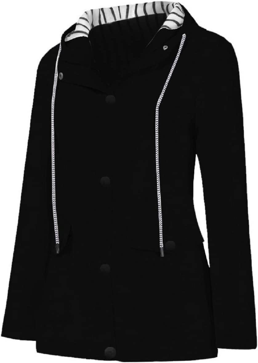 Tsmile Women Solid Raincoat Striped Plus Size Waterproof Trench Coat Hooded Zip Up Outdoor Windproof Jacket Coat