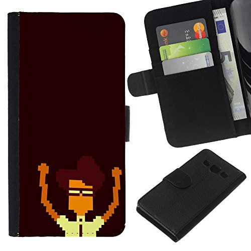 Price comparison product image Funny Phone Case / / Leather Wallet Protective Case with Slots for Money & Cards fit Samsung Galaxy A3 / Pixel Nerd