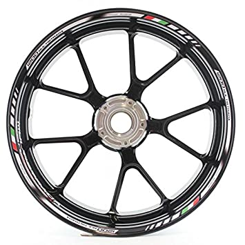 8 x DUCATI MULTISTRADA small Wheel decals rim stripes Laminated flag