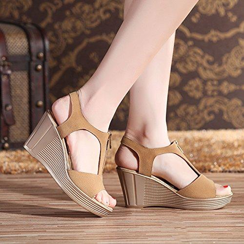 YMFIE La cuña del Alto talón de Cuero del Verano con Las Sandalias Abiertas del Dedo del pie la Manera Casual de Las señoras Calza los Zapatos al Aire Libre cómodos Antideslizantes D