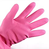 Flower Sea9 Reusable Household Cleaning Dishwashing Kitchen Glove House Hold Rubber Latex Gloves,Long Sleeve (Pink)