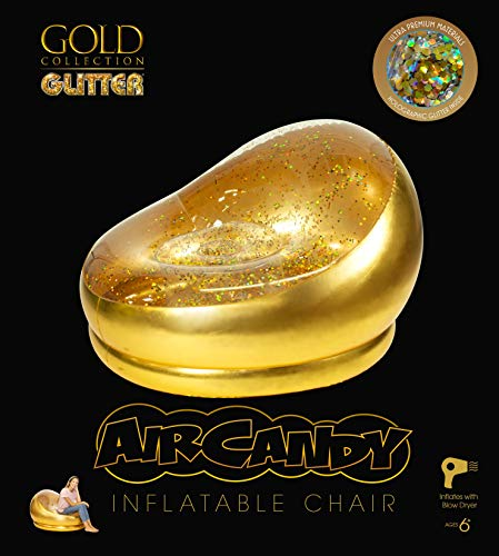 Air Candy Solid Gold Inflatable Chair, Accent Contemporary Lounge Chair for Living Room, Bedroom, Dorm Room, Patio Decor Indoors or Outdoors, Waterproof, Kids, Teens, Adults, 3lbs