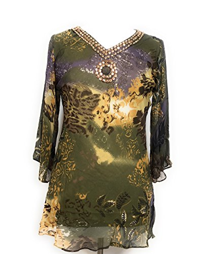 Printed Embellished Tunic (Small, Green - - Printed Embellished Tunic