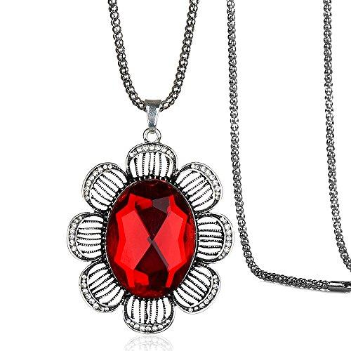 Ruby Flower Pendant - Elegant Retro Style Flower Shape Ruby Rhinestone Crystal Pendant Necklace for Women