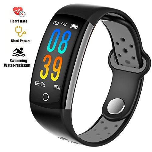 Fitness Tracker Watch, Upgraded IP68 Swim Water-resistant HD Color Screen Smart Bracelet, HR/Blood Oxygen/Pressure/Calorie/Sleep Monitor,Pedometer Activity Tracker BLE 4.0 for Android/IOS (Black+Grey)