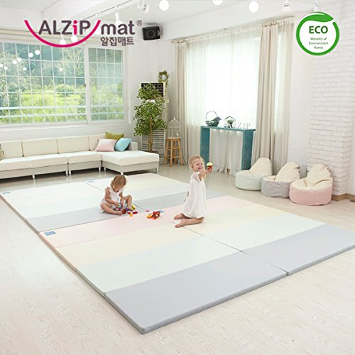 [Alzip New Eco Mat] Folding, Non-Toxic, Reversible SG Playmat -Modern Pink Color (240x140x4cm)