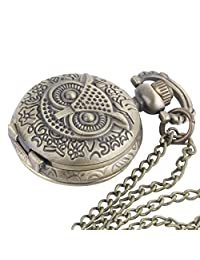 Brass Vintage Owl Pocket Watch Chain Necklace