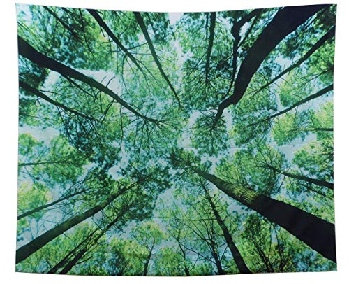 GARDOVA Tapestry   Nature   Tropical Forest Canopy   Green Tall Trees   Wall Hanging Wall Blanket Wall Art Decor   Bright Green   59 X 51 inches