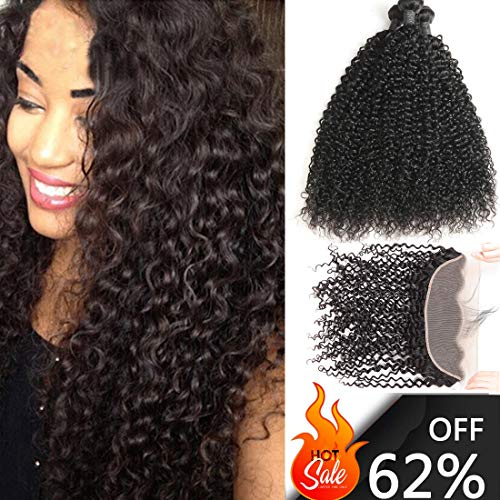 ALIMICE Brazilian Jerry Curly 13x4 Ear to Ear Lace Frontal Closure with 3 Bundles Virgin Human Hair Bundles Natural Color (10 12 14+10 13×4 frontal)