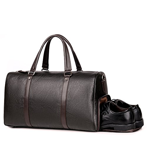 Men Leather Gym Bag Travel Duffels Weekender Brown Overnight Gym Business Sports Luggage Tote Duffle Bags For Men & Women (brown)