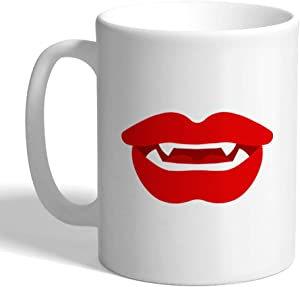 Coffee Mug 11 Ounces Vampire Fangs Lips Kiss Kissing Mouth Style Al Humor Ceramic Tea Cup Oz