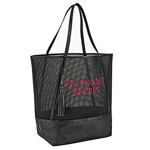 (Victoria's Secret Black Mesh Beach Bag Tote 2017 Limited Edition Tassel )