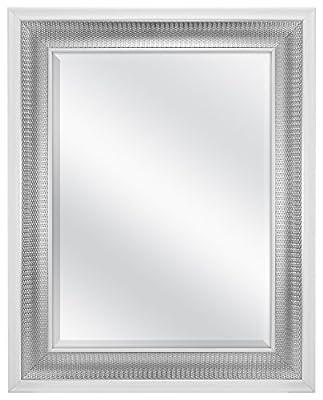 "MCS 83041 18x24"" Beveled Wall Mirror White & Woven Silver Finish"