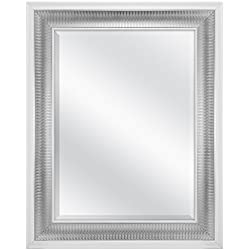 MCS 18x24 Inch Embossed Droplet Wall Mirror, 24.5x30.5 Inch Overall Size, Silver (83041)
