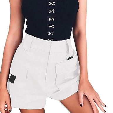 0e443f9a83b186 Short Femme Ete Taille Haute Bermudas Cargo avec Poche Pantalon ...