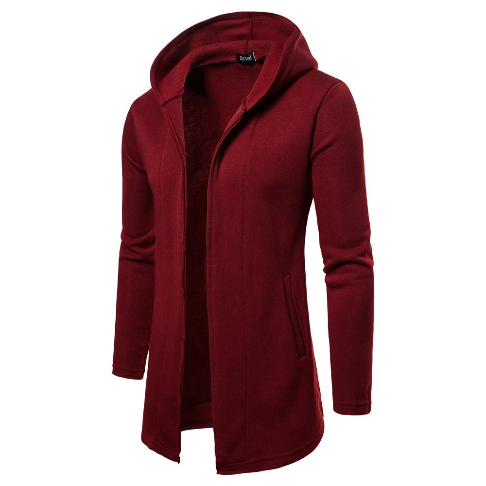 Mens Jacket Godathe Clearance Fashion Mens Hooded Solid Trench Coat Jacket Cardigan Long Sleeve Outwear Blouse M-2XL