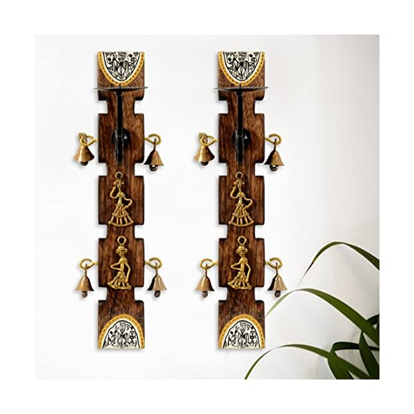 Exclusivelane Dhokra And Warli Art Living Room Decorative Wall Candle Holder Set 8 4 Cm X 15 2 Cm X 30 5 Cm Brown Set Gift Merry