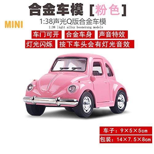 Liebye Q版おもちゃの車のモデル ミニ合金のシミュレーションバブルカーモデルの子供はフラッシュとサウンド知的贈り物と車のおもちゃを引き出します ピンク