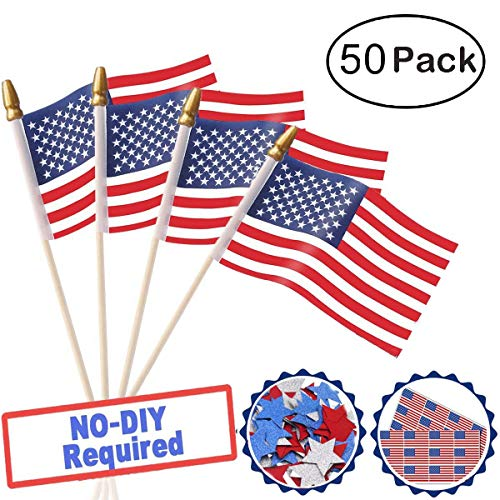 Labor Day Party Decorations USA Wooden Stick Flag, 50 Pack P