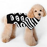 NACOCO Pet Sweaters Skeleton Sweater Skull Black White Sweater the Cat Dog Clothes Pet Clothing Little Puppy Dog Sweaters