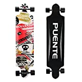 Puente Cool Grip Tape Skull Drop Down Professional Complete Longboard 41Inch