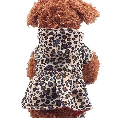 Duseedik Pet Hoodie Coats, Pet Dogs Leopard Dress Tops Puppy Cotton Clothes