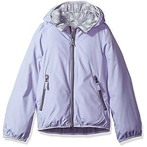 London Fog Big Girls' Reversible Jacket With Hood, Lavender, 14/16
