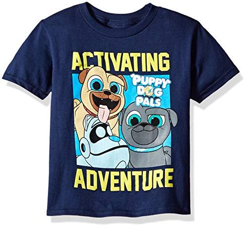 (Disney Boys' Toddler Puppy Dog Pals Activating Adventure Short Sleeve Tshirt, Navy, 4T)