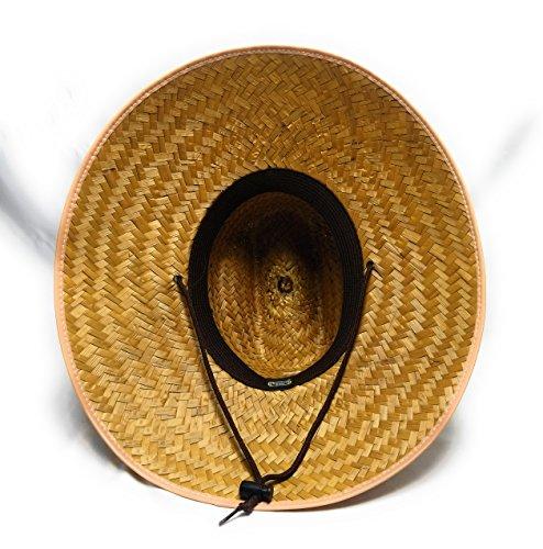 6794809f5bd91 J.J. Natural Palm Leaf Straw Super Wide Brim Lifeguard Hat with Chin Strap