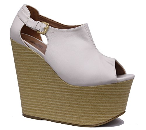 Ladies Cut Out Wedge High Heels Peeptoe Platform Strap Sandals Womens Shoes Size White