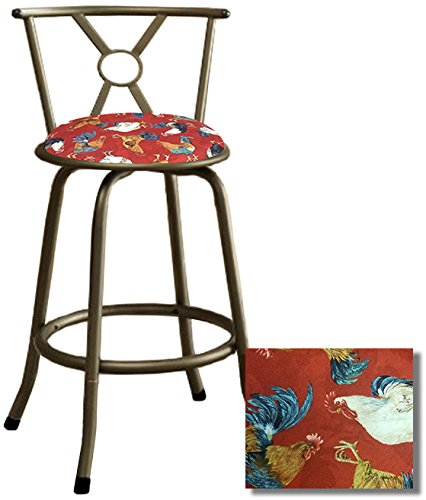 1 - Bronze Finish Barstool With Optional Adjustable Legs for a 24'' or 29'' Tall Stool Featuring a Fabric Covered Seat Cushion (Red Roosters) by The Furniture Cove