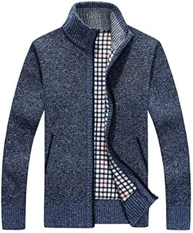 8fb5a86ca3e SWISSWELL Mens Casual Knitted Sweaters Full Zip Thick Fleece Cardigan with  Pockets