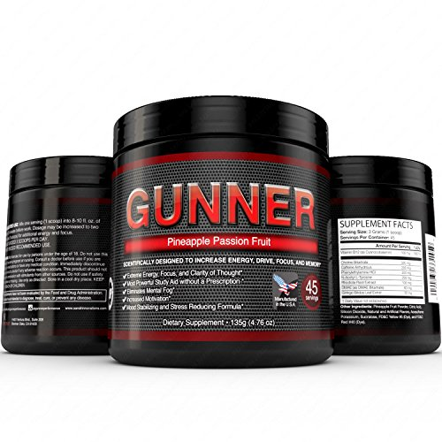 GUNNER- GUNNER® – Powerful Brain Booster – Focus, Memory, Stamina, Energy, & Concentration 45 Servings For Sale