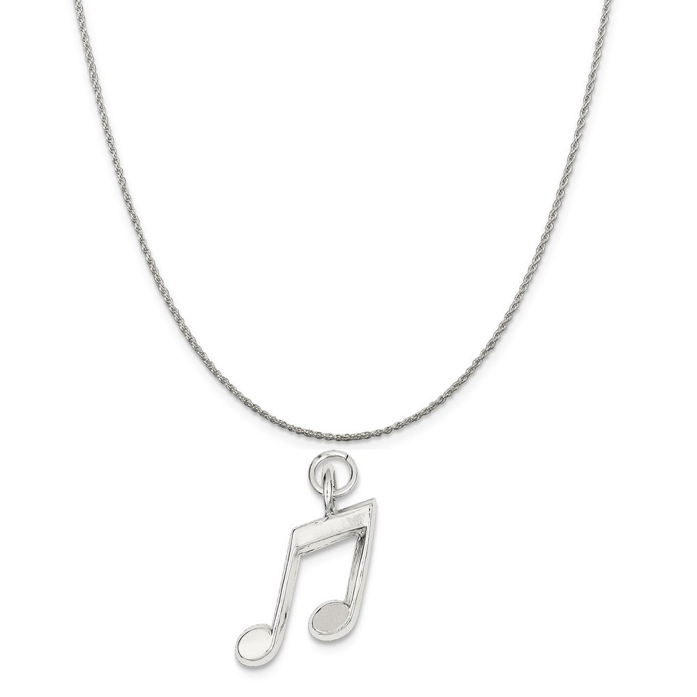 Mireval Sterling Silver Music Notes Charm on a Sterling Silver Chain Necklace 16-20