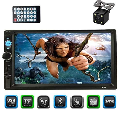 CACA 7″inch Double Din Touchscreen In Dash Stereo Car Receiver Audio Video Player Bluetooth FM Radio MP3 MP5/TF/USB/AUX/Steering wheel controls,Remote Control,Rear View Camera