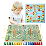Magnetic Maze Game, 2-in-1 Double Side Wooden Marbles Labyrinth with Flying Chess for Kid Children Baby Game Toys to Enhance the Ability of Hand-eye Coordination and Awareness of Color (#1 Football)