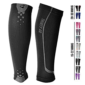 Graduated Calf Compression Sleeves for Men & Women by Thirty 48 | 15-22 OR 20-30 mmHg | Maximize Faster Recovery by Increasing Oxygen to Muscles | Great for Running, Walking, Crossfit, Cycling, Travel