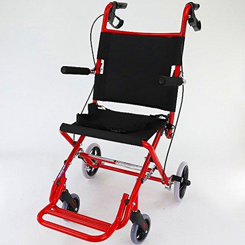 ワイドタイプの簡易車椅子 『 快飛ee!(カットビー)』 キャンディーレッド 重量約7.2kg 超軽量 コンパクト 介助用車いす 旅行やお買い物やレジャーでのご使用にも!E101-AR B00RDZTY3O