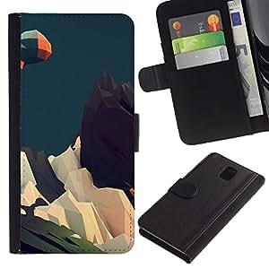 """A-type (Geometría Montaña"""") Colorida Impresión Funda Cuero Monedero Caja Bolsa Cubierta Caja Piel Card Slots Para Samsung Galaxy Note 3 III"""