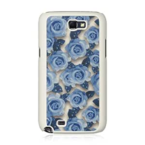 Dream Wireless Crystal Rubber Case for Samsung Galaxy Note 2 - Retail Packaging - Fabric White Rose
