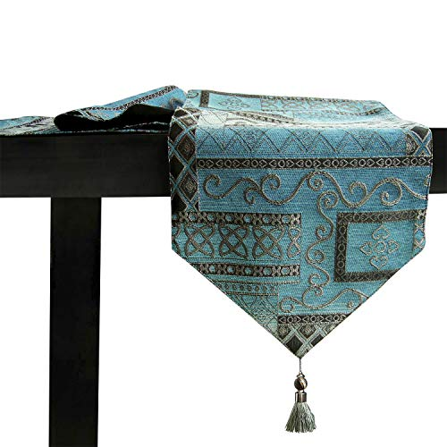 Artbisons Table Runner 60x13 Cotton Linen Kitchen Dining Table Topper Blue Abstract (Mediterranean Coffee Table)