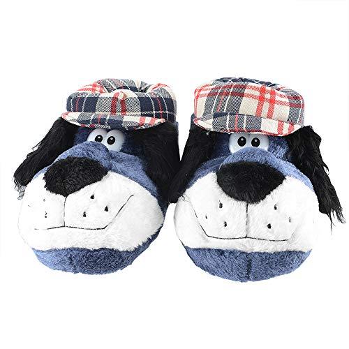 2eb8fe135e28 KushyShoo Men s Fuzzy Happy Feet Animal Slippers with Wolf Monkey Lion Dog